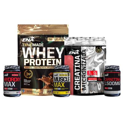 COMBO CRECIMIENTO ENA Whey Chocolate 454g + Creatina micronizada + Muscle Max + Hydroxy Max+ L- Carn