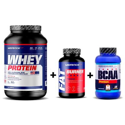 COMBO MERVICK 2 Whey 1kg. Chocolate + Fat Burner + BCAA