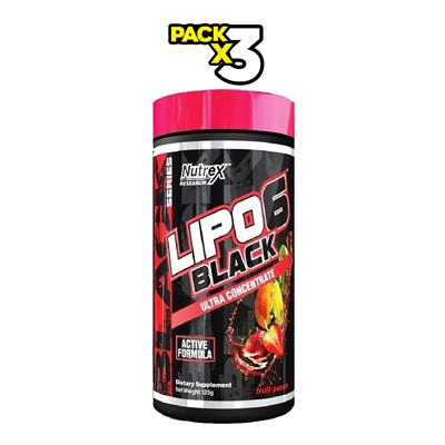 COMBO NUTREX Lipo 6 Black Fruit Punch 3 x 125 gr.