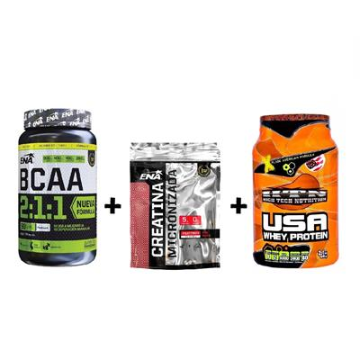 ~ COMBO ENA BCAA 2:1:1 90 Comp. + ENA Creatina Micronizada Fruit Punch + HTN Whey Protein Chocolate